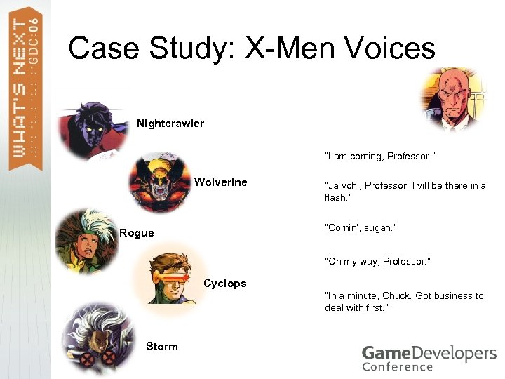 "Case Study: X-Men Voices Nightcrawler ""I am coming, Professor. "" Wolverine ""Ja vohl, Professor."