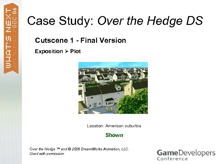 Case Study: Over the Hedge DS Cutscene 1 - Final Version Exposition Plot Location: