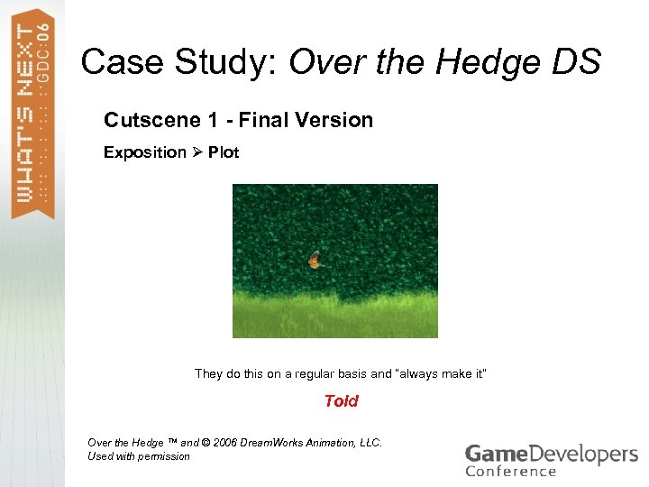 Case Study: Over the Hedge DS Cutscene 1 - Final Version Exposition Plot They