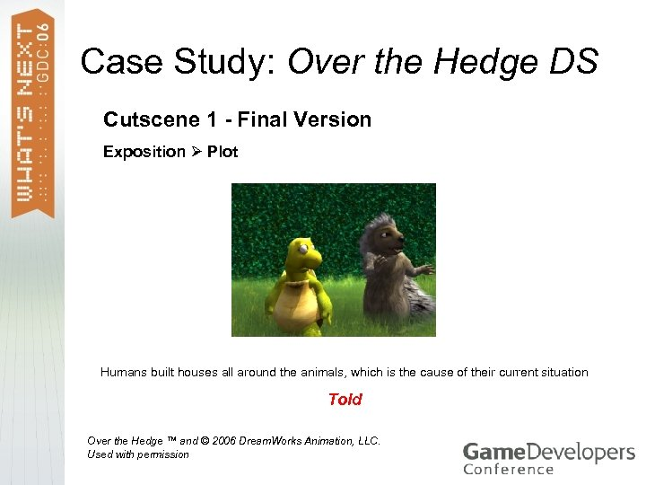 Case Study: Over the Hedge DS Cutscene 1 - Final Version Exposition Plot Humans
