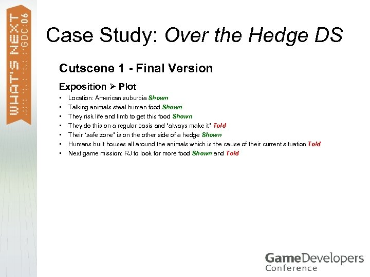 Case Study: Over the Hedge DS Cutscene 1 - Final Version Exposition Plot •