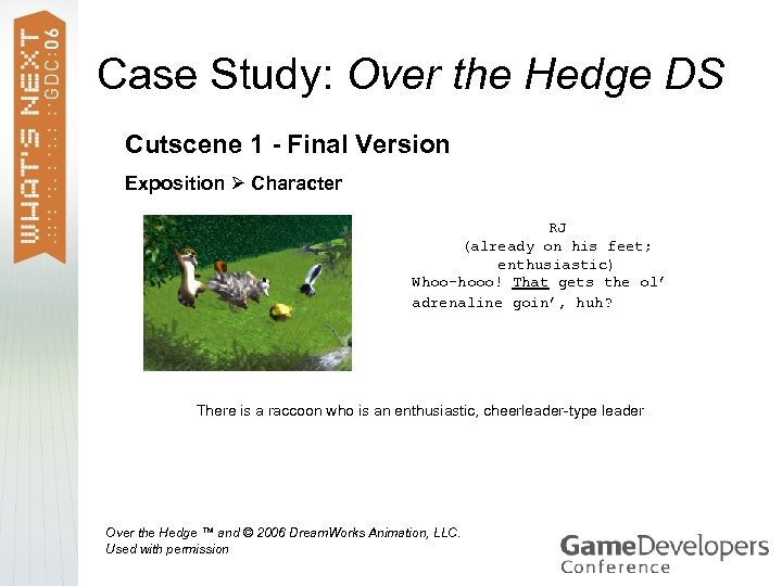 Case Study: Over the Hedge DS Cutscene 1 - Final Version Exposition Character RJ