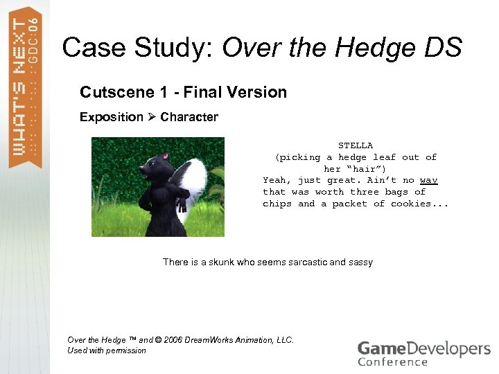 Case Study: Over the Hedge DS Cutscene 1 - Final Version Exposition Character STELLA