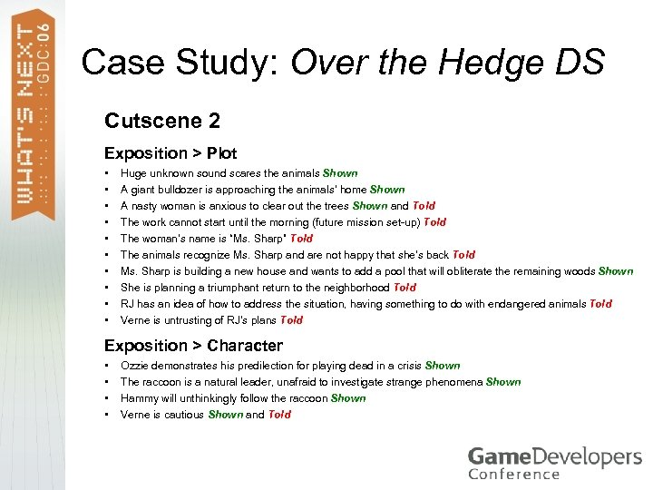 Case Study: Over the Hedge DS Cutscene 2 Exposition > Plot • • •