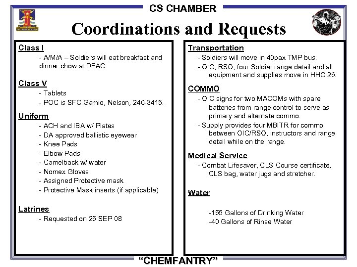 CS CHAMBER Coordinations and Requests Class I Transportation - Soldiers will move in 40
