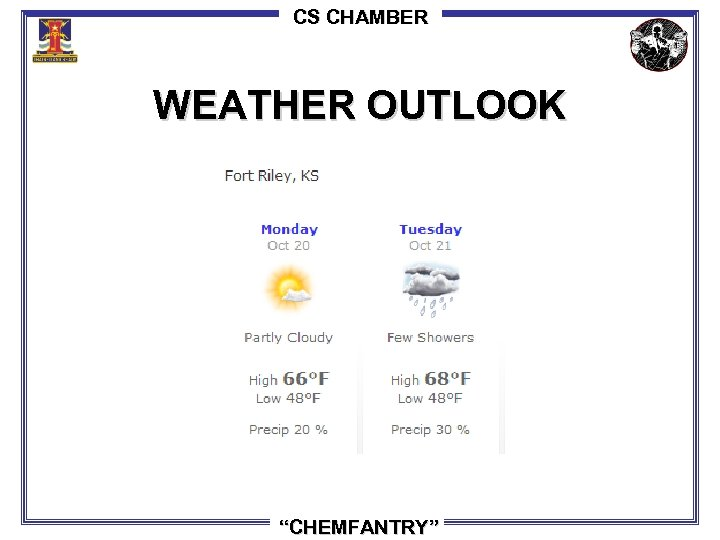"CS CHAMBER WEATHER OUTLOOK ""CHEMFANTRY"""