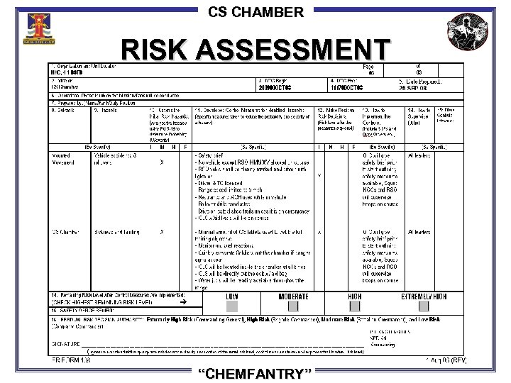 "CS CHAMBER RISK ASSESSMENT ""CHEMFANTRY"""