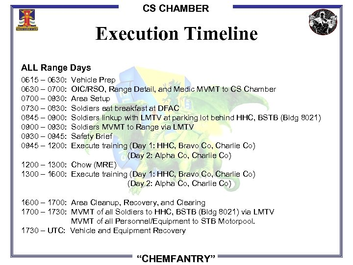 CS CHAMBER Execution Timeline ALL Range Days 0615 – 0630: Vehicle Prep 0630 –