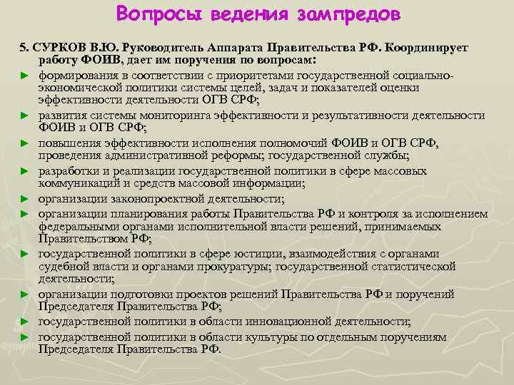 Вопросы ведения зампредов 5. СУРКОВ В. Ю. Руководитель Аппарата Правительства РФ. Координирует работу ФОИВ,