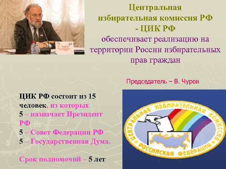 Центральная избирательная комиссия РФ - ЦИК РФ обеспечивает реализацию на территории России избирательных прав