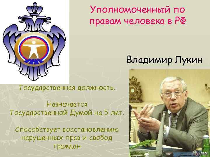 Уполномоченный по правам человека в РФ Владимир Лукин Государственная должность. Назначается Государственной Думой на