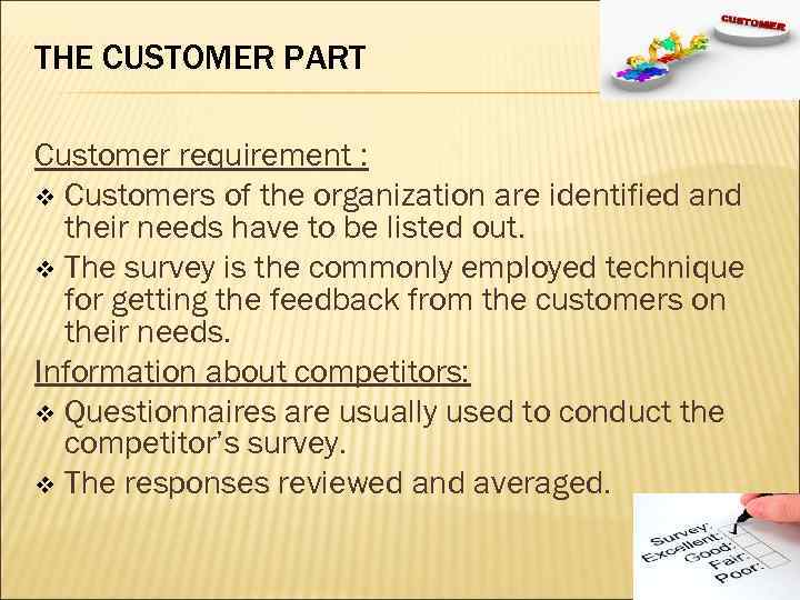 THE CUSTOMER PART Customer requirement : v Customers of the organization are identified and