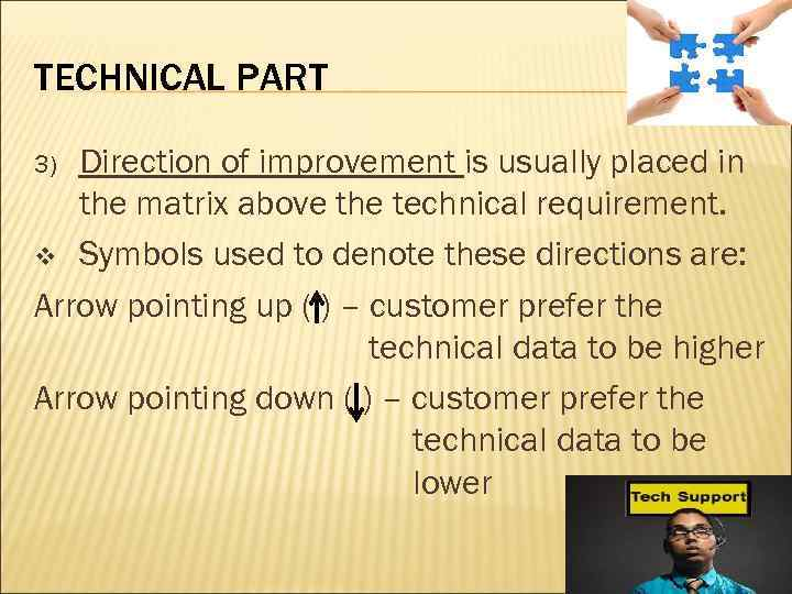 TECHNICAL PART Direction of improvement is usually placed in the matrix above the technical