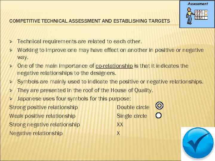 COMPETITIVE TECHNICAL ASSESSMENT AND ESTABLISHING TARGETS Technical requirements are related to each other. Ø