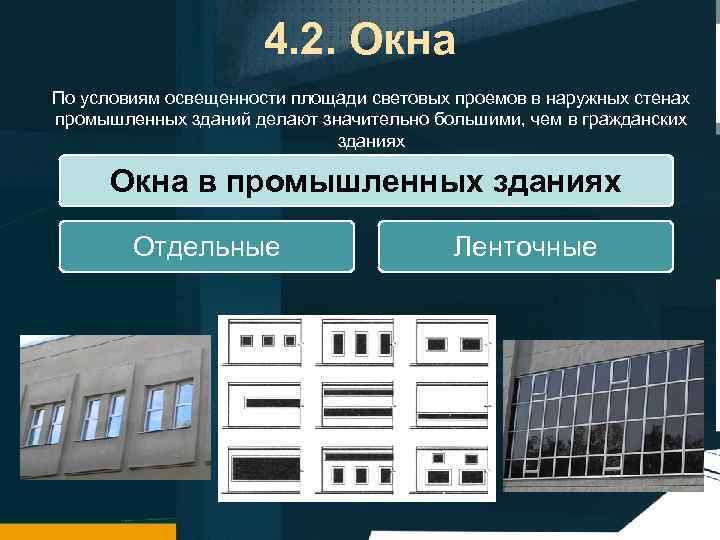 4. 2. Окна По условиям освещенности площади световых проемов в наружных стенах промышленных зданий