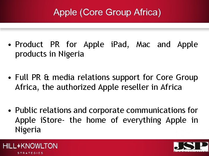 Apple (Core Group Africa) • Product PR for Apple i. Pad, Mac and Apple