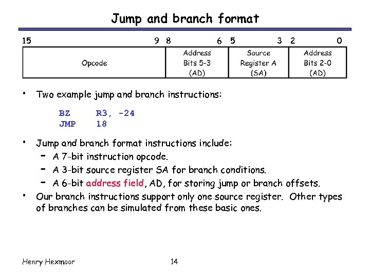 Jump and branch format 15 • 9 8 • 5 3 2 0 Two