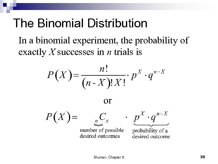 The Binomial Distribution In a binomial experiment, the probability of exactly X successes in