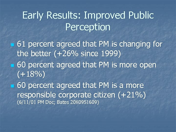 Early Results: Improved Public Perception n 61 percent agreed that PM is changing for