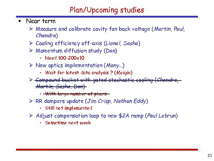 Plan/Upcoming studies § Near term Ø Measure and calibrate cavity fan back voltage (Martin,
