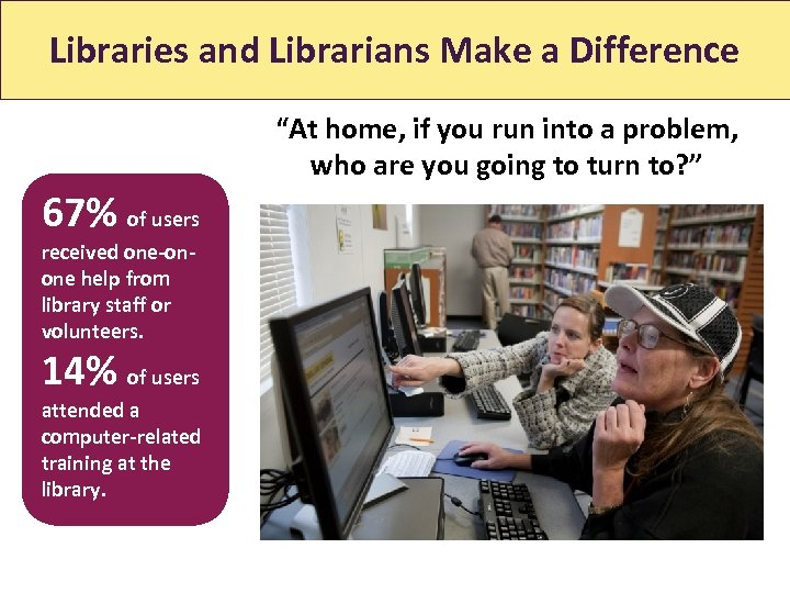 "Libraries and Librarians Make a Difference ""At home, if you run into a problem,"