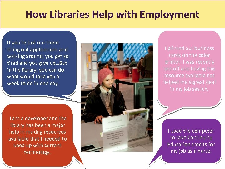 How Libraries Help with Employment How Libraries Help With Jobs If you're just out