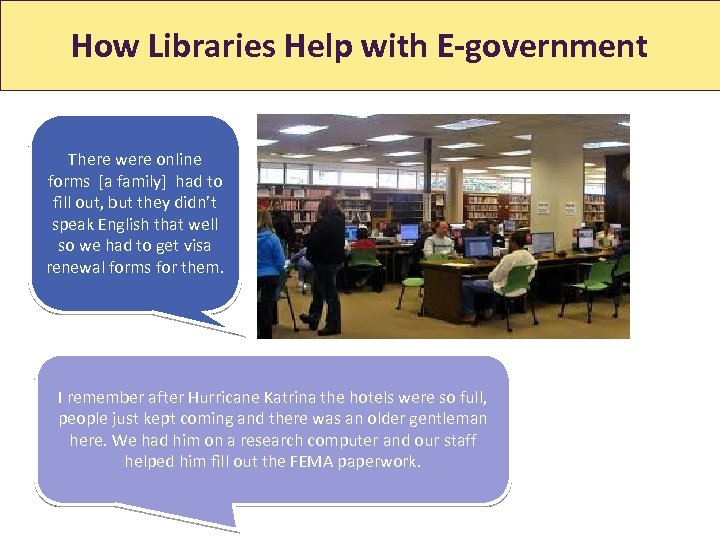 How Libraries Help with E-government How Libraries Help With Jobs There were online forms