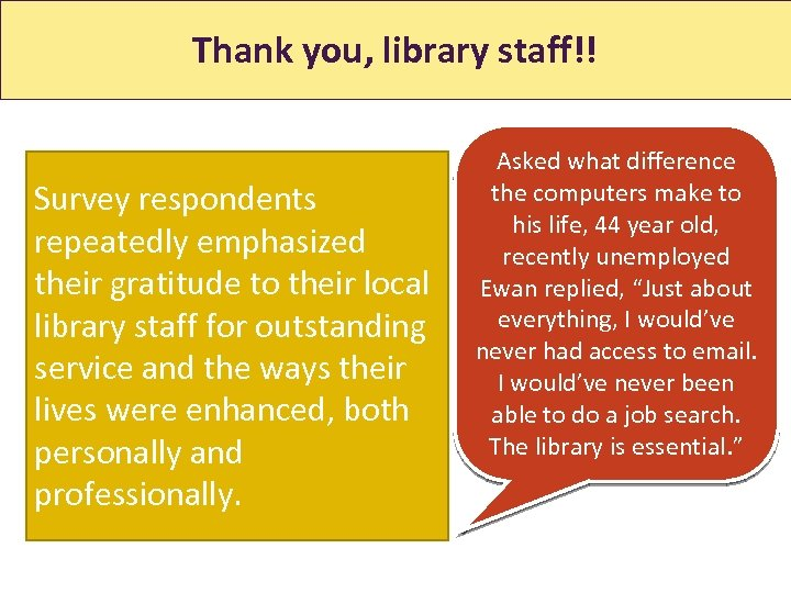 Thank you, library staff!! Survey respondents repeatedly emphasized their gratitude to their local library