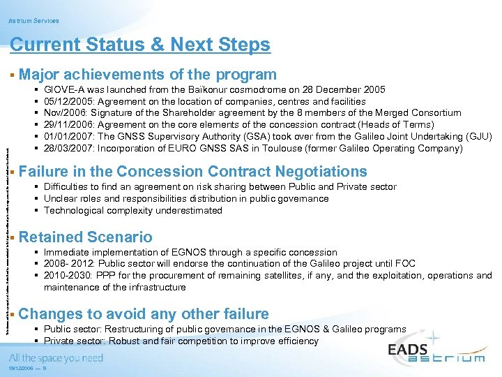 Astrium Services Current Status & Next Steps This document is the property of Astrium.