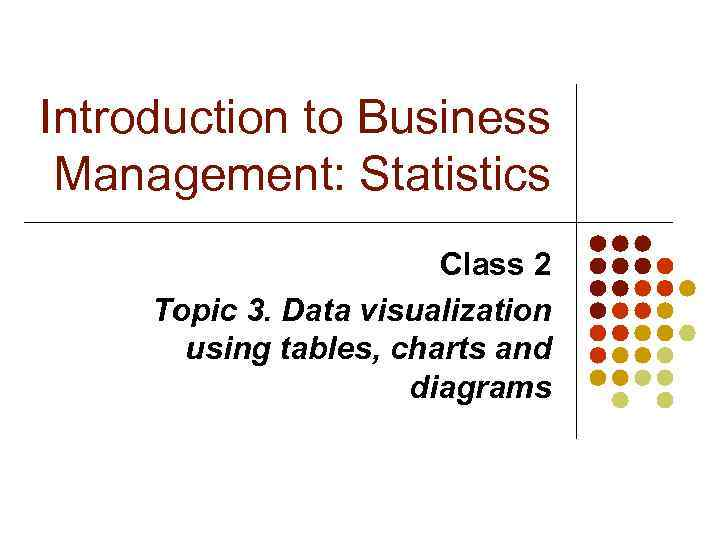 Introduction to Business Management Statistics Class 2 Topic