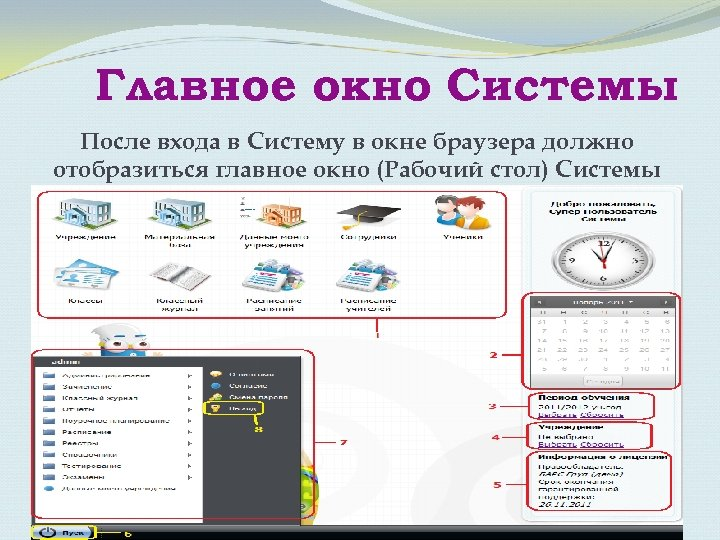 Главное окно Системы После входа в Систему в окне браузера должно отобразиться главное окно