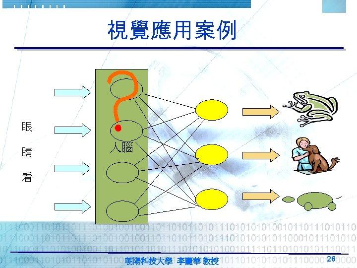 視覺應用案例 眼 睛 人腦 看 朝陽科技大學 李麗華 教授 26