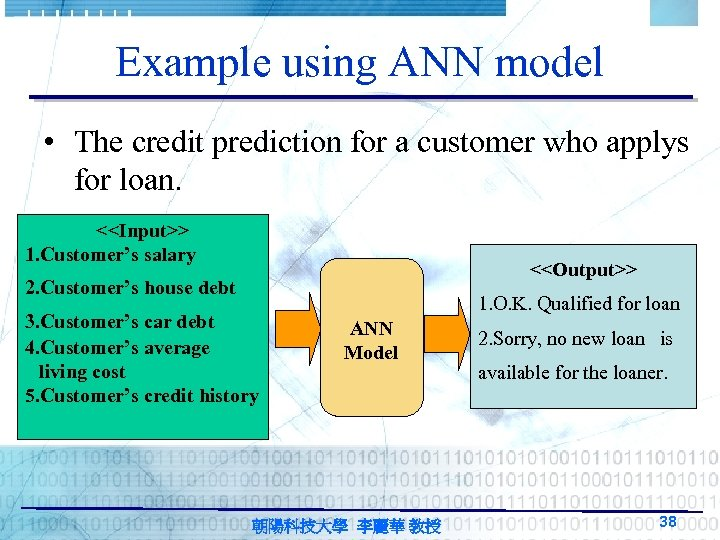 Example using ANN model • The credit prediction for a customer who applys for