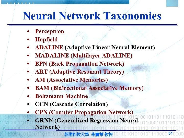 Neural Network Taxonomies • • • Perceptron Hopfield ADALINE (Adaptive Linear Neural Element) MADALINE