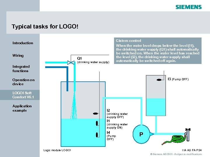 Typical tasks for LOGO! Introduction Wiring Q 1 (drinking water supply) Cistern control When