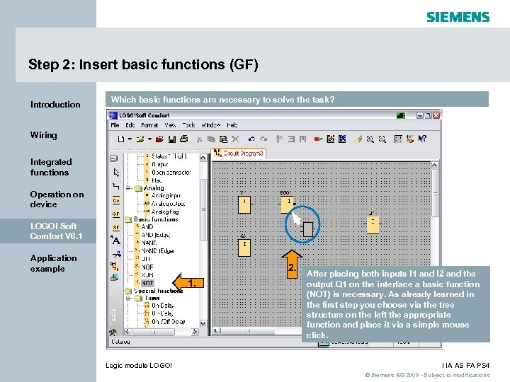 Step 2: Insert basic functions (GF) Introduction Which basic functions are necessary to solve
