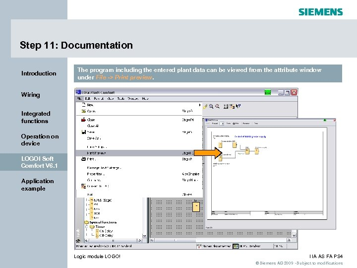 Step 11: Documentation Introduction The program including the entered plant data can be viewed