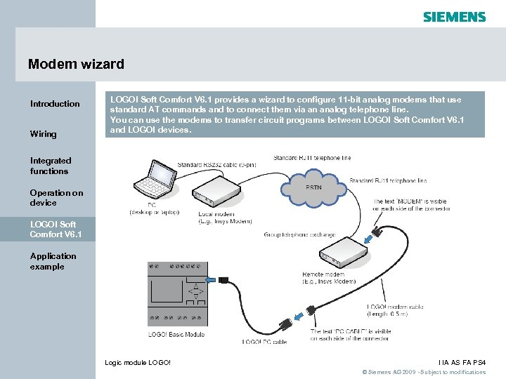 Modem wizard Introduction Wiring LOGO! Soft Comfort V 6. 1 provides a wizard to