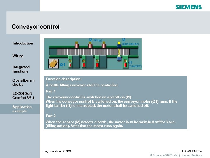 Conveyor control I 2 (filling) Introduction I 3 (light barrier) Wiring Q 1 Integrated
