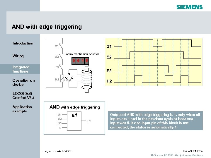 AND with edge triggering Introduction Wiring S 1 S 2 Electro mechanical counter 0