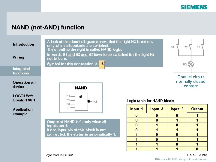 NAND (not-AND) function Introduction Wiring A look at the circuit diagram shows that the