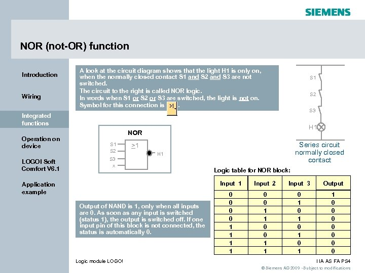 NOR (not-OR) function Introduction Wiring A look at the circuit diagram shows that the