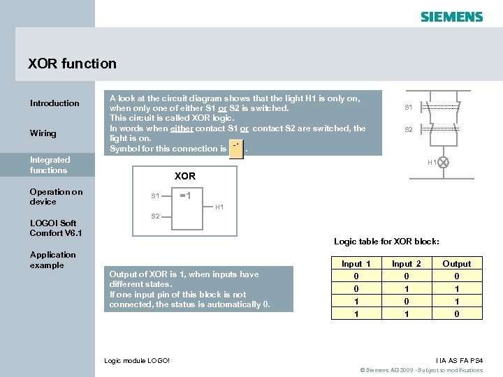 XOR function Introduction Wiring A look at the circuit diagram shows that the light