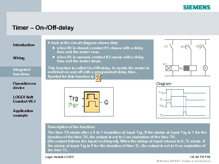 Timer – On-/Off-delay Introduction Wiring Integrated functions A look at the circuit diagram shows