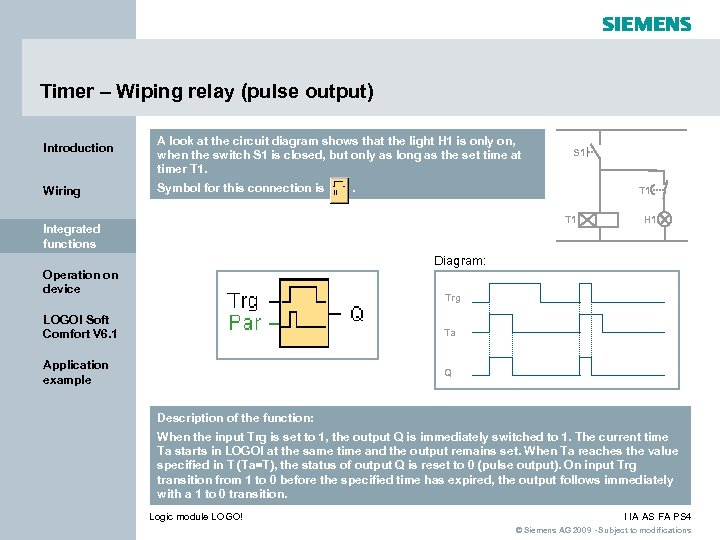 Timer – Wiping relay (pulse output) Introduction Wiring A look at the circuit diagram