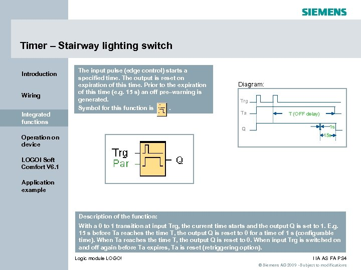 Timer – Stairway lighting switch Introduction Wiring Integrated functions The input pulse (edge control)