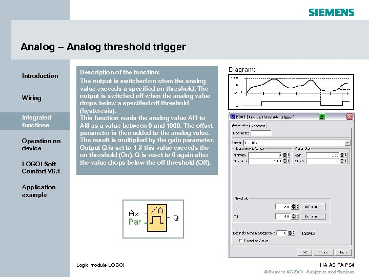 Analog – Analog threshold trigger Introduction Wiring Integrated functions Operation on device LOGO! Soft
