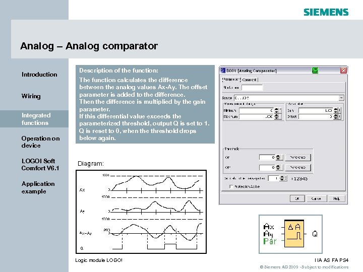 Analog – Analog comparator Introduction Wiring Integrated functions Operation on device LOGO! Soft Comfort