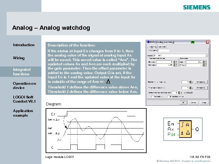 Analog – Analog watchdog Introduction Wiring Integrated functions Operation on device LOGO! Soft Comfort