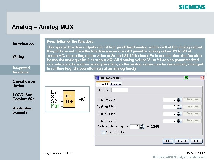 Analog – Analog MUX Introduction Wiring Integrated functions Description of the function: This special